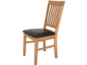 Oak Dining Chair With Brown Seat