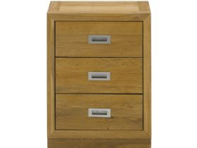 Oak Nightstand with 3 Drawers