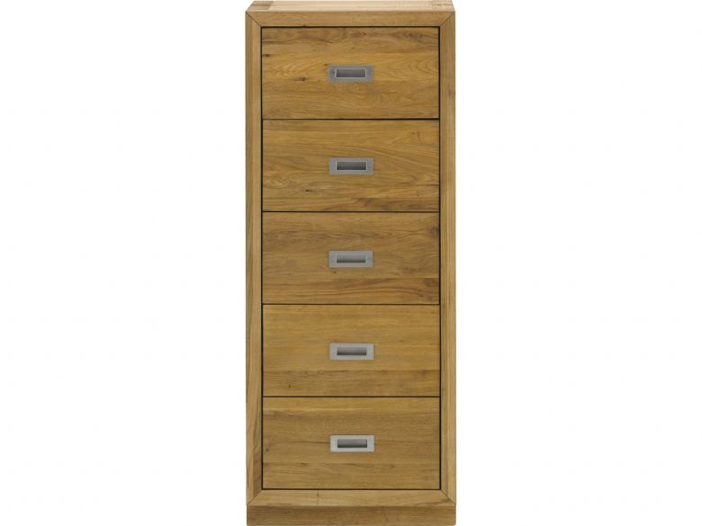Barwick oak tallboy with 5 drawers