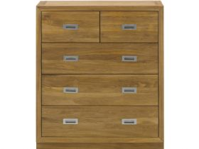 Oak Chest with 2 Over 3 Drawers