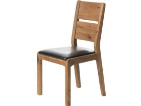 Oak Dining Chair - Brown PU Seat