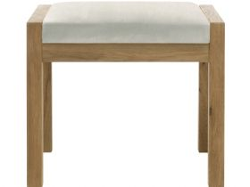 Oak Stool with Beige Fabric