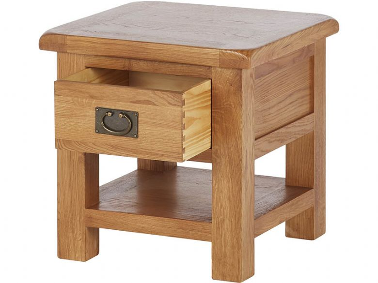 Winchester Oak Lamp Table With Drawer Open Drawer
