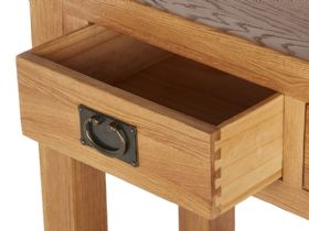 Winchester Oak Console Table Open Drawer