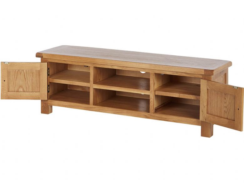 Winchester Oak Extra Large TV Unit Open