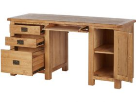Winchester Oak Double Desk Open