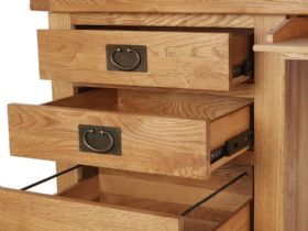 Winchester Oak Double Desk Open Drawers