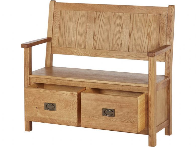 Winchester Oak Monks Bench Open Drawers