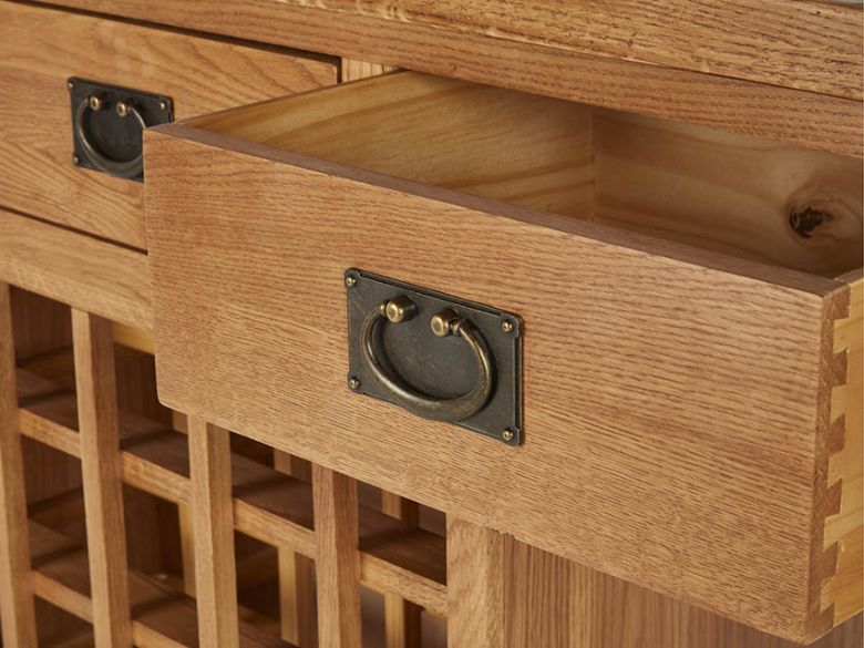 Winchester Oak Open Sideboard With Wine Rack Drawer