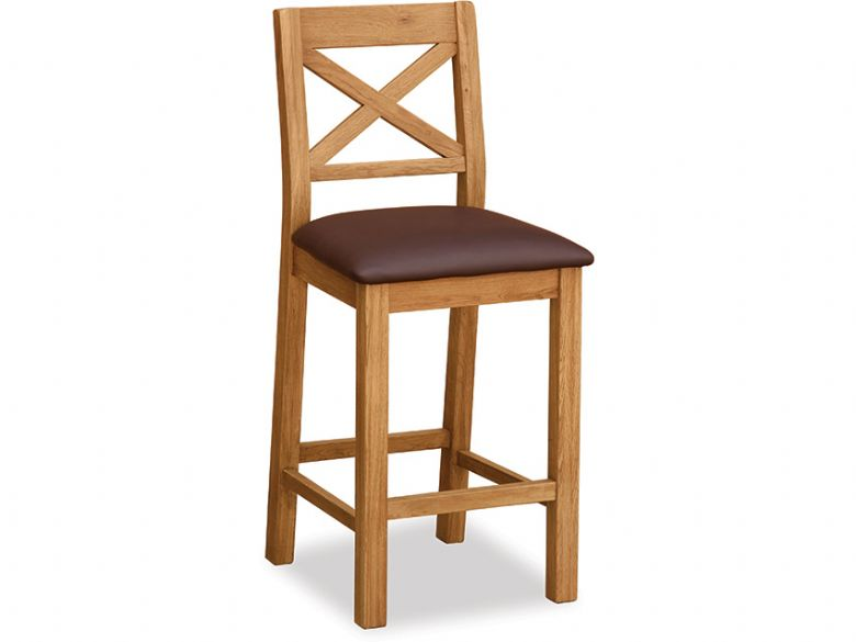 Winchester oak rustic barstool with brown seat pad