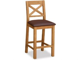 Oak Barstool With Brown Seat