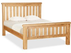 Oak 4'6 Double Slatted Bedframe