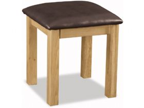 Winchester oak stool with brown leather look seat