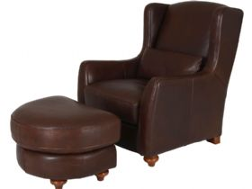 Raynor Leather High Back Chair & Stool