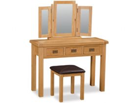 Winchester oak wide dressing table, triple mirror and stool