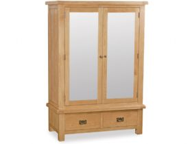 Oak Wide Mirrored Wardrobe