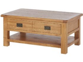 Oak Large Coffee Table With Shelf
