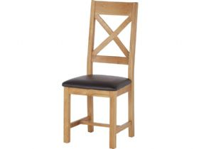 Oak Cross Back Dining Chair With Brown PU Seat