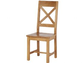 Oak Cross Back Dining Chair with Wooden Seat