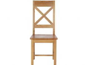 Winchester Oak Cross Back Dining Chair with Wooden Seat