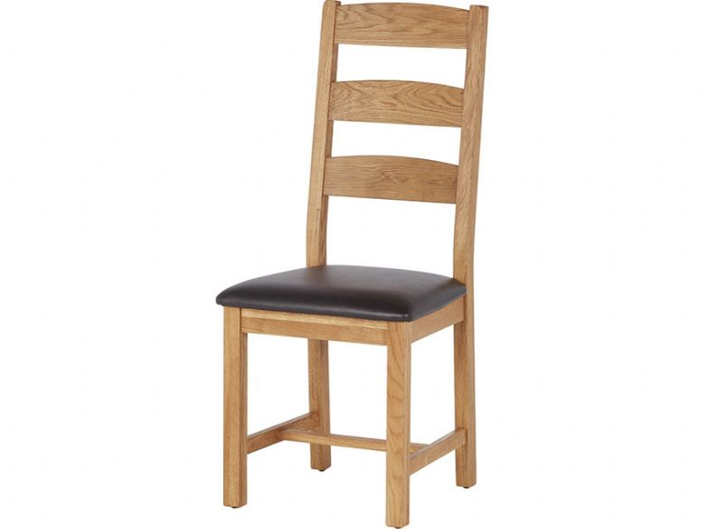 Winchester Oak Ladder Back Dining Chair With PU Brown Seat