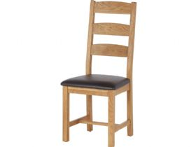 Oak Ladder Back Dining Chair With PU Brown Seat