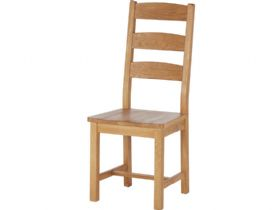 Oak Ladder Back Dining Chair with Wooden Seat