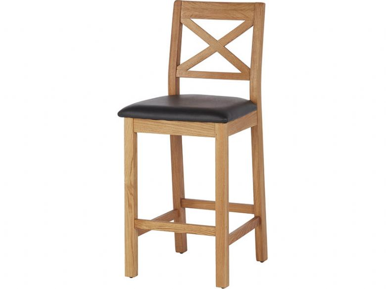 Oak Barstool With Black Seat