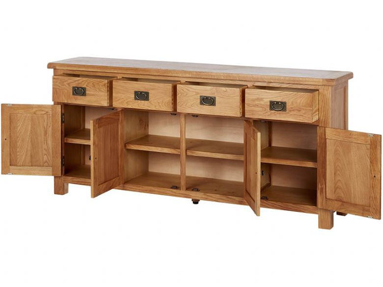 Winchester Oak Extra Large Sideboard Open