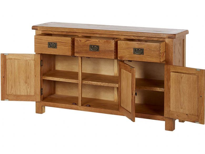 Winchester Oak Large Sideboard Open
