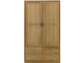Oak Wardrobe with 2 Doors & 4 Drawers