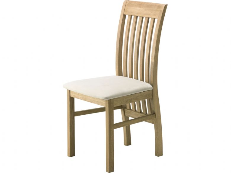 Oak Dining Chair with Beige Fabric