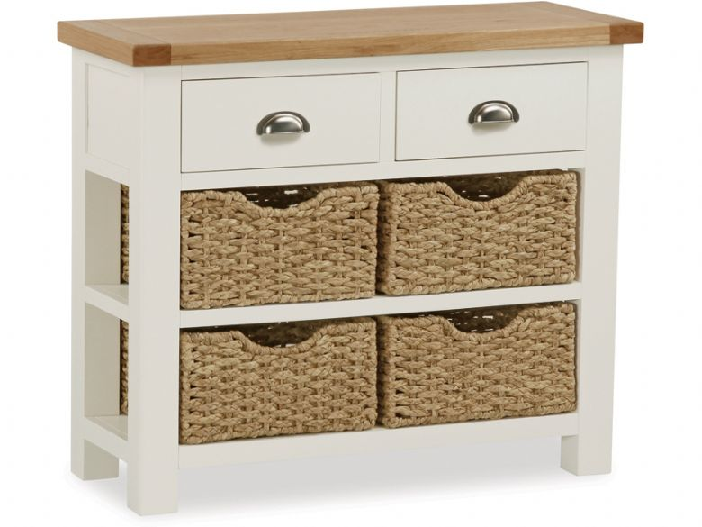 Buttermilk Console Table With Baskets