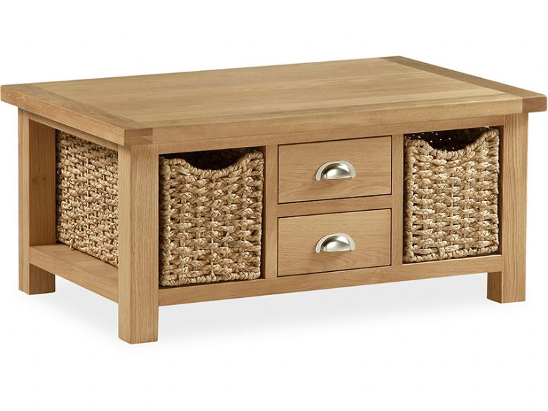 Oak Large Coffee Table With Baskets