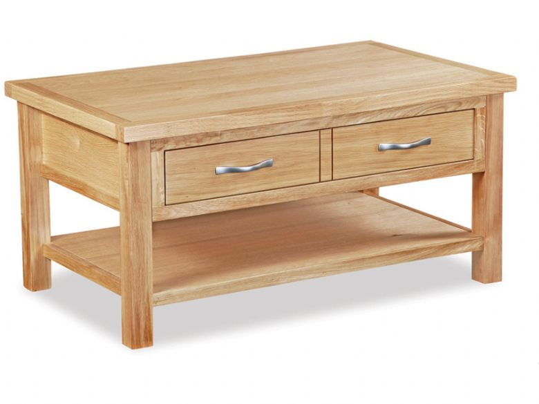 Oxford oak coffee table with 1 drawer and shelf