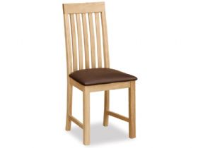 Oak Vertical Slatted Chair With Brown PU Seat
