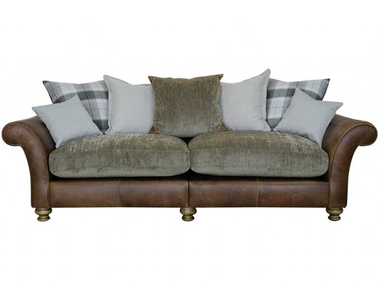 Logan 4 Seater Leather And Fabric Pillow Back Sofa