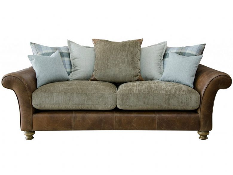 Logan 3 Seater Leather And Fabric Pillow Back Sofa