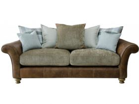 3 Seater Leather And Fabric Pillow Back Sofa