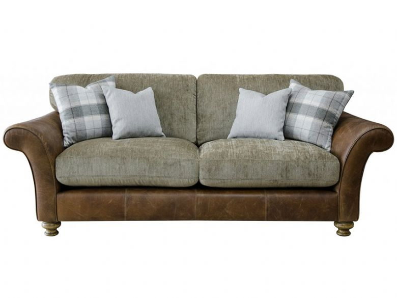 Logan 3 Seater Leather And Fabric Sofa