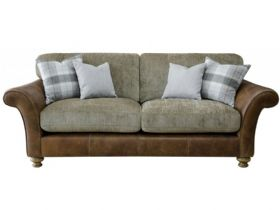 3 Seater Leather And Fabric Sofa