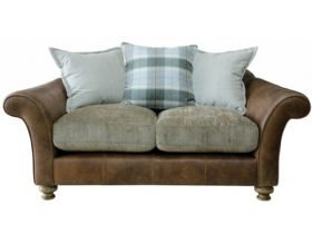 2 Seater Leather And Fabric Pillow Back Sofa