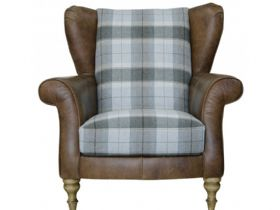 Leather And Fabric Wing Chair With Check Fabric
