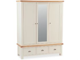 Buttermilk Mirrored Triple Wardrobe