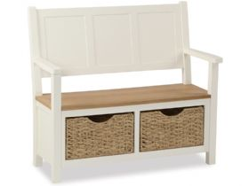 Buttermilk Monk Bench With Basket