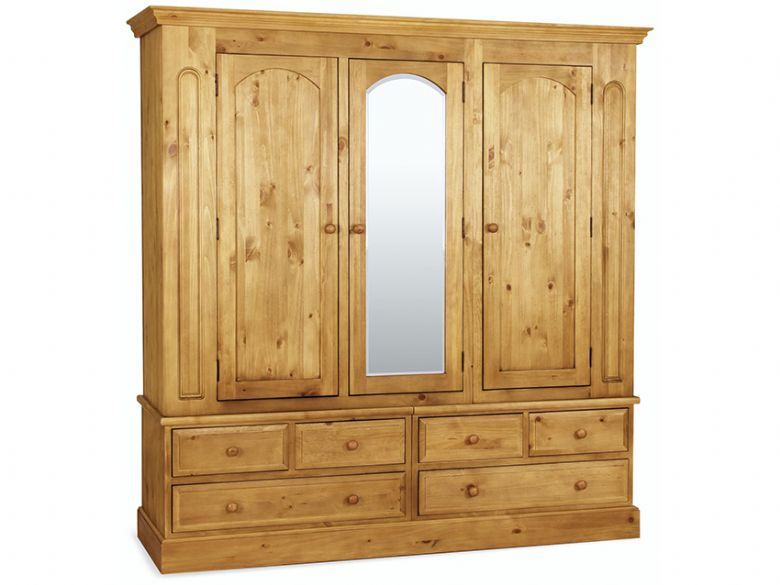 Pine Triple Wardrobe With Mirror