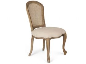 Distressed Oak Chair With Rattan Back
