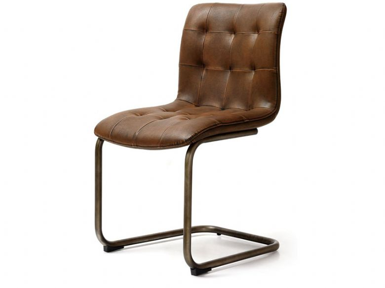 Button Back Brown Dining Chair