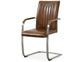Industrial retro stitch brown dining chair