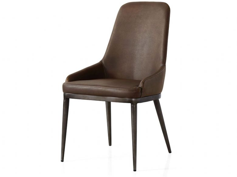 Industrial brown retro contour dining chair